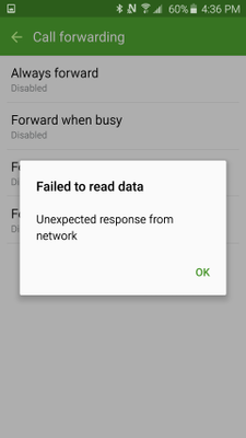Call forwarding error: Unexpected response from network