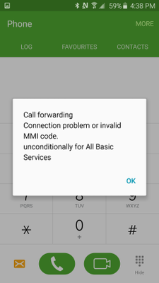 Error after entering forwarding code