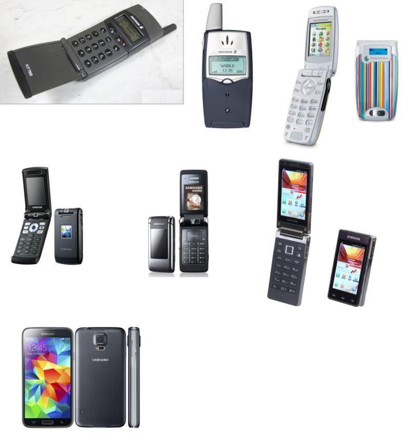 L to R, T to B: Ericsson KF788; Ericsson T39m; SonyEricsson Z600; Samsung Z510; Samsung G400; Samsung B9120; Samsung S5
