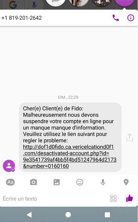 Tentative de phishing...