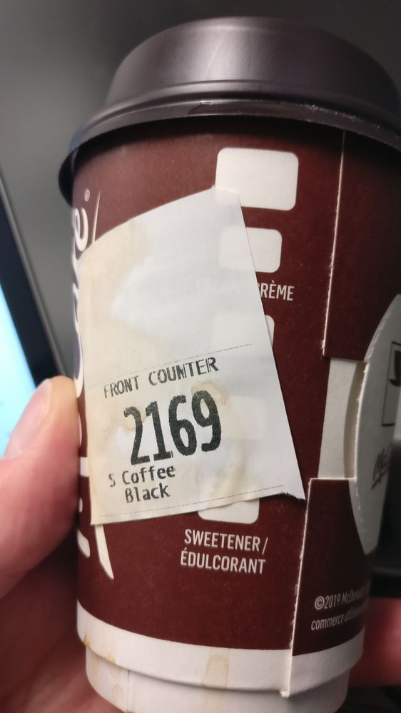 My order number this morning... it's a sign (don't mind the coffee stain, they over filled it..)