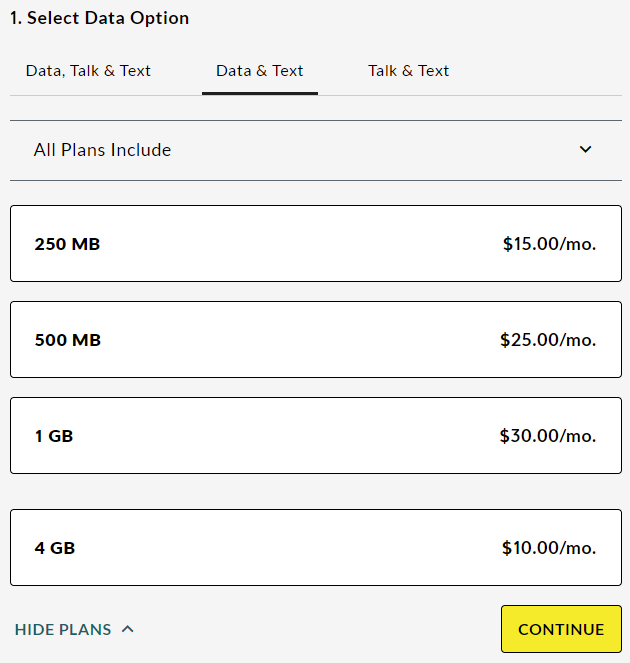 Plans - Data & Text