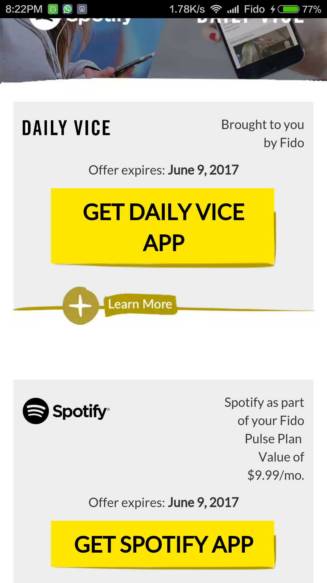 activation spotify fido