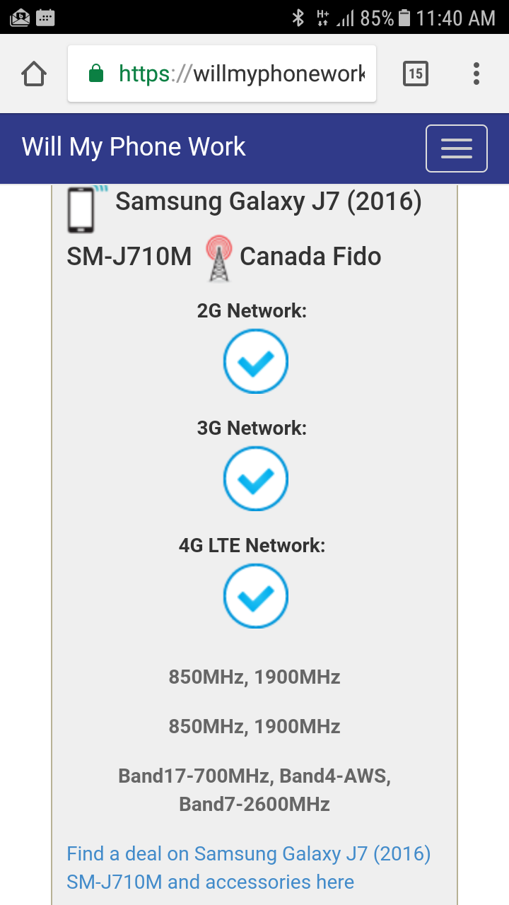Galaxy J7 cannot connect LTE - Fido