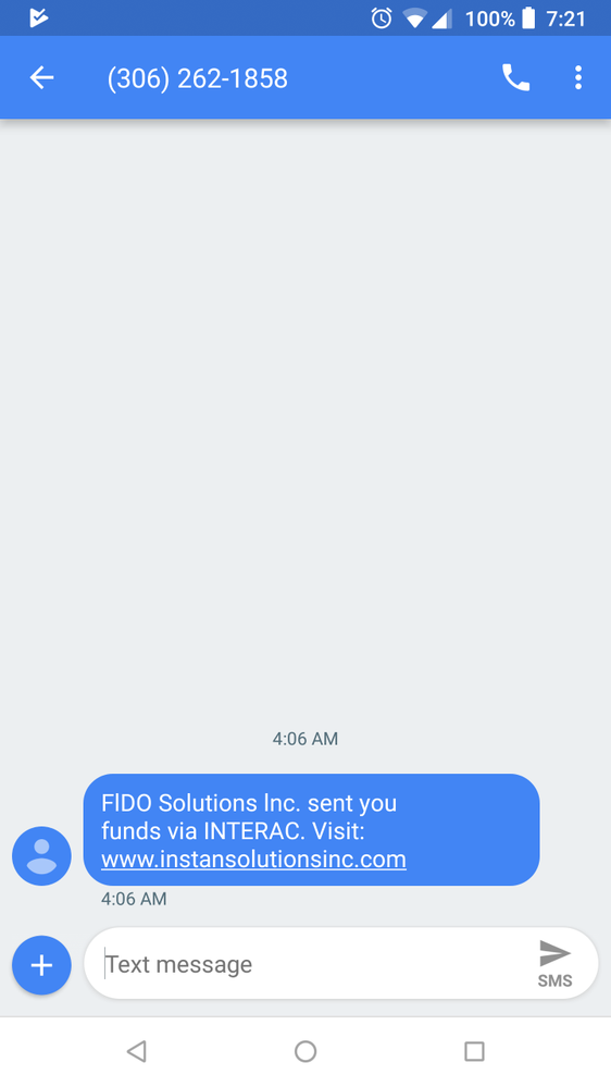 This is a scam text message I received