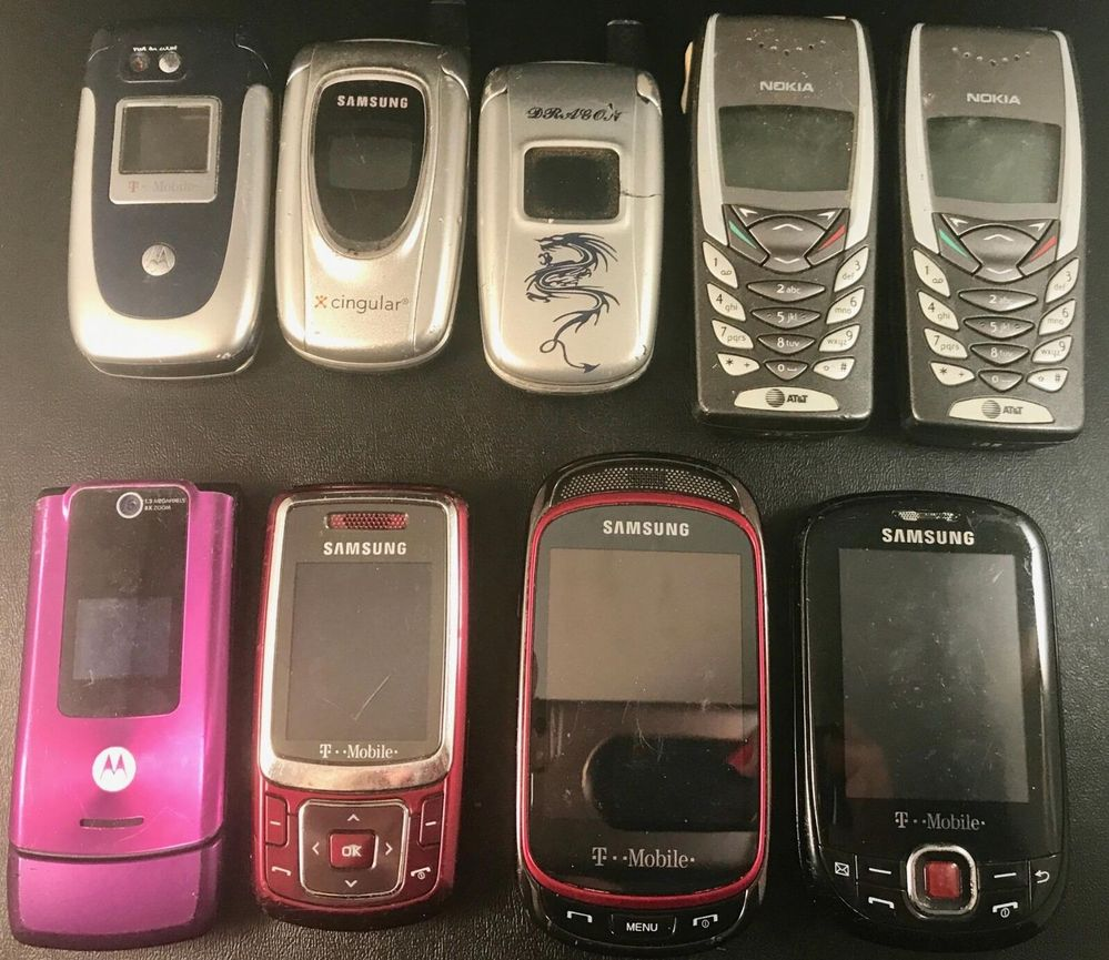 9 Phones.  Remember how excited you were to get a flip phone.  LOL