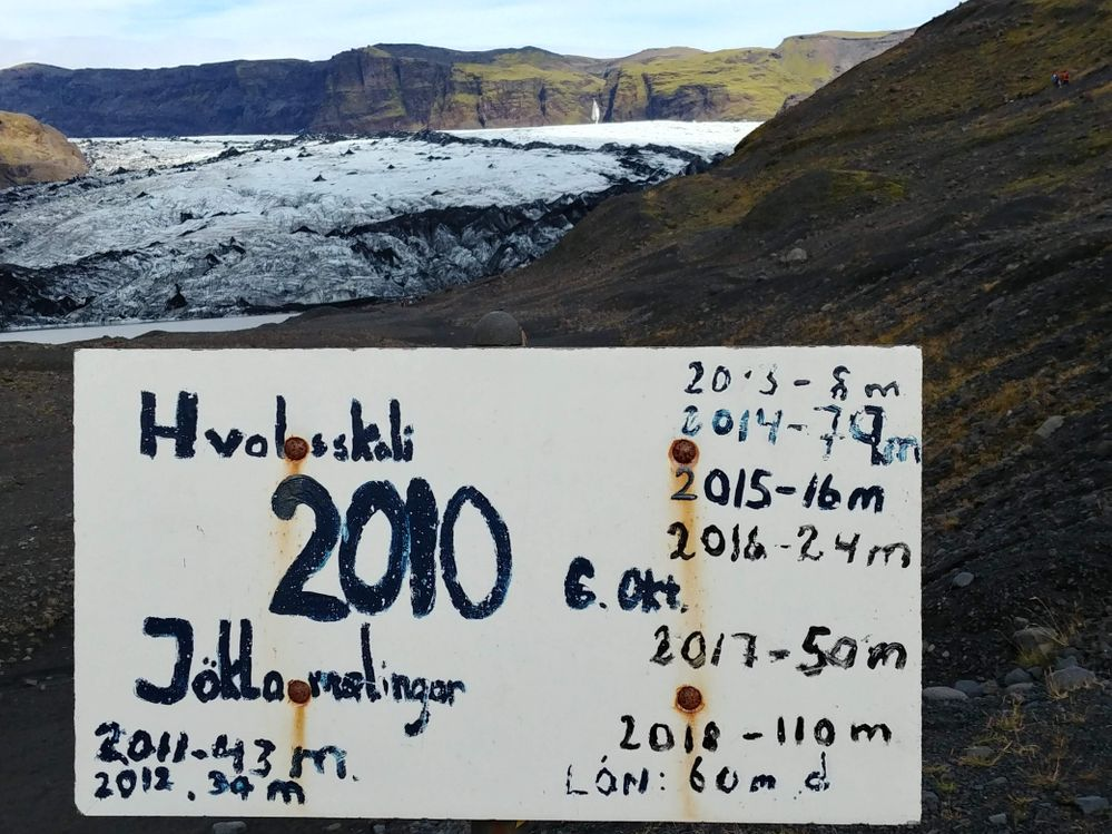 The ressession of a glacier in Iceland this summer. 79m in 2014!